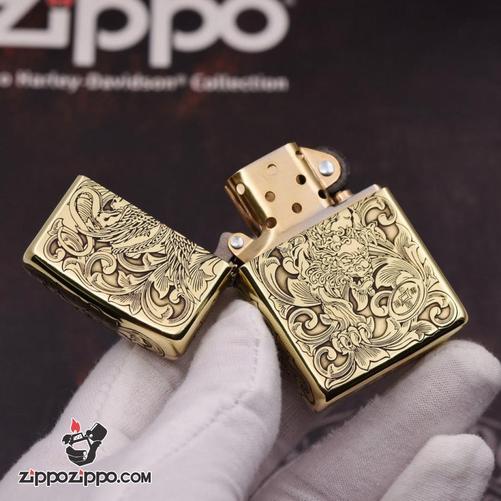 Bật Lửa Zippo Đồng Nguyên Khắc Tỳ Hưu