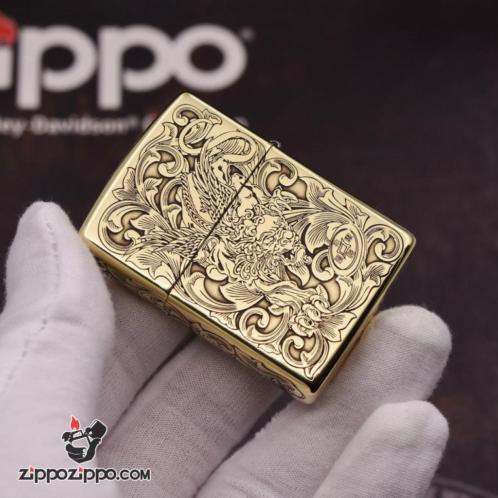 Bật Lửa Zippo Đồng Nguyên Khắc Tỳ Hưu Armor