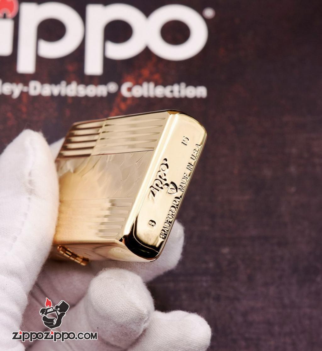 Bật Lửa Zippo Xuất Nhật Mạ Vàng Sâu Chạm Khắc Hình Hạt Quạt Trừu Tượng