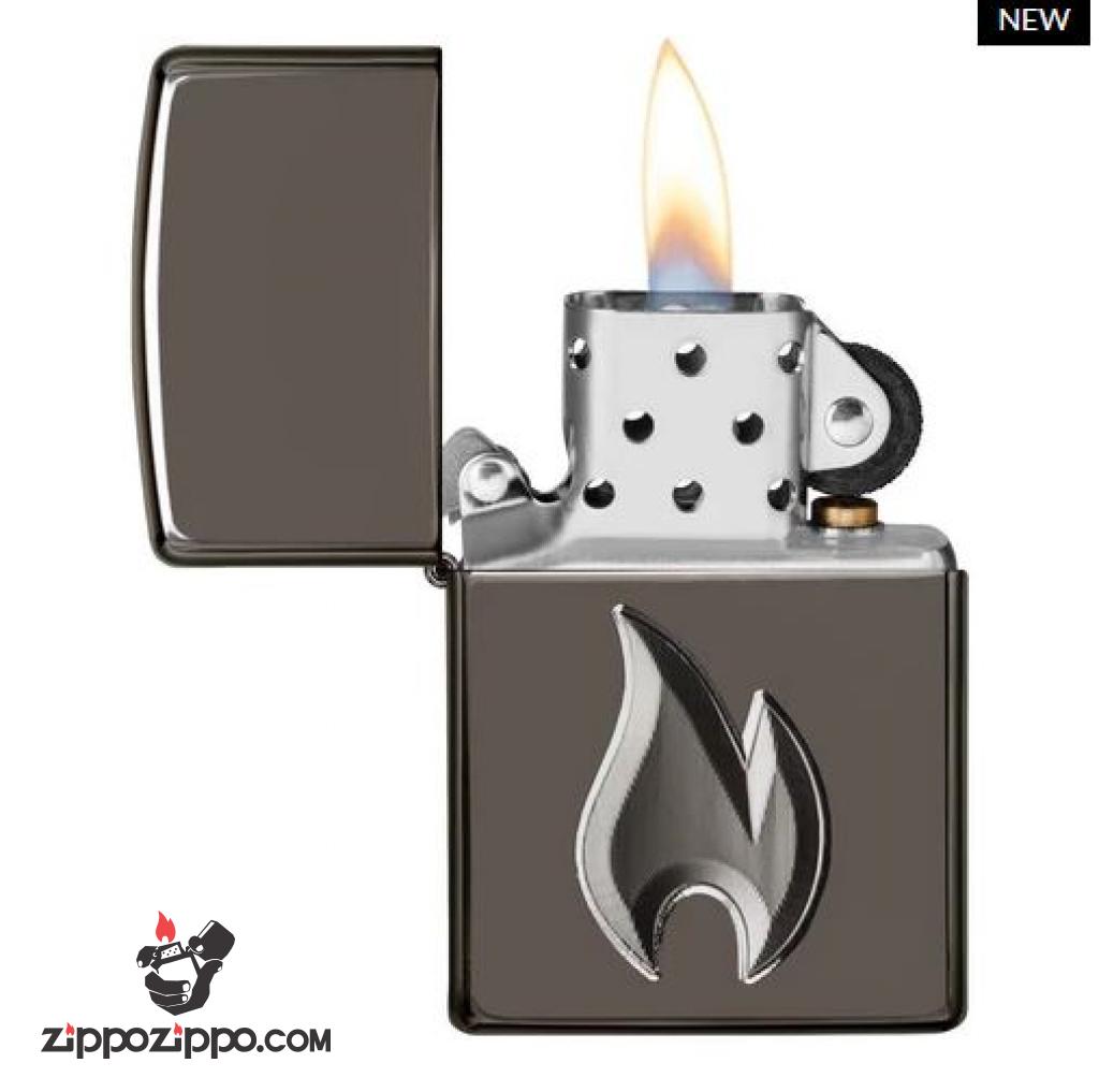 Zippo Armor đen huyền băng khắc sâu cao cấp 3D hình ảnh ngọn lửa Zippo