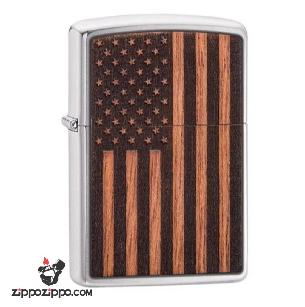 Zippo khắc Laser hình cờ Mỹ trên miếng ốp gỗ