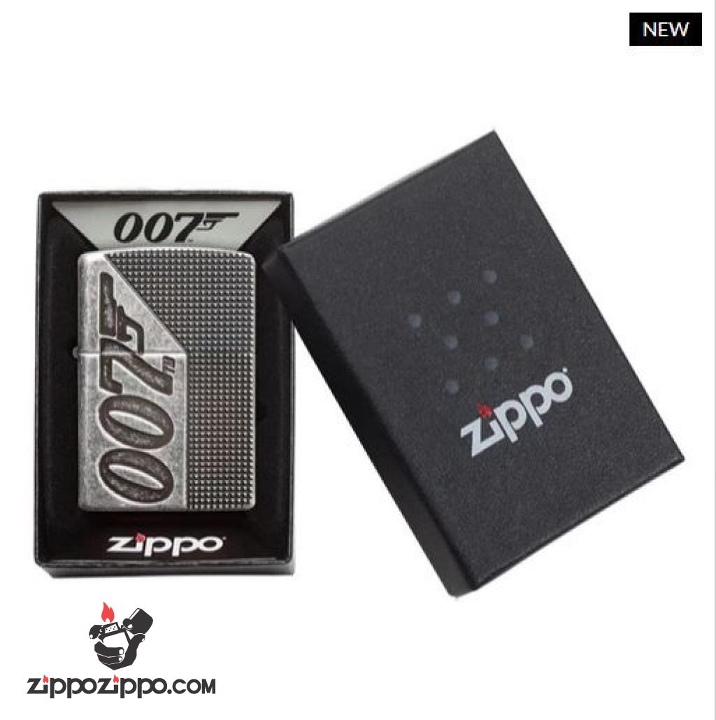 Zippo Armor khắc sâu 360 độ logo phim điệp viên 007