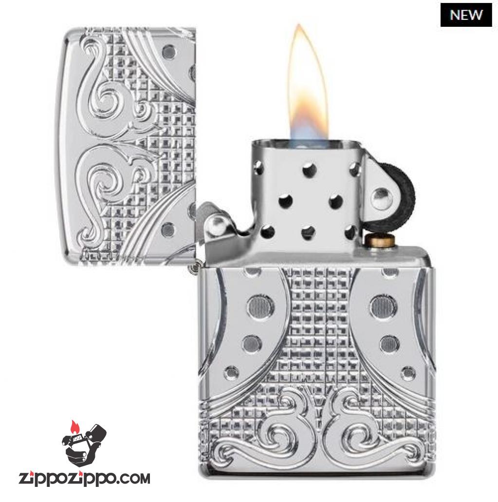 Zippo Armor Multicut 360 khắc hoa văn đối xứng