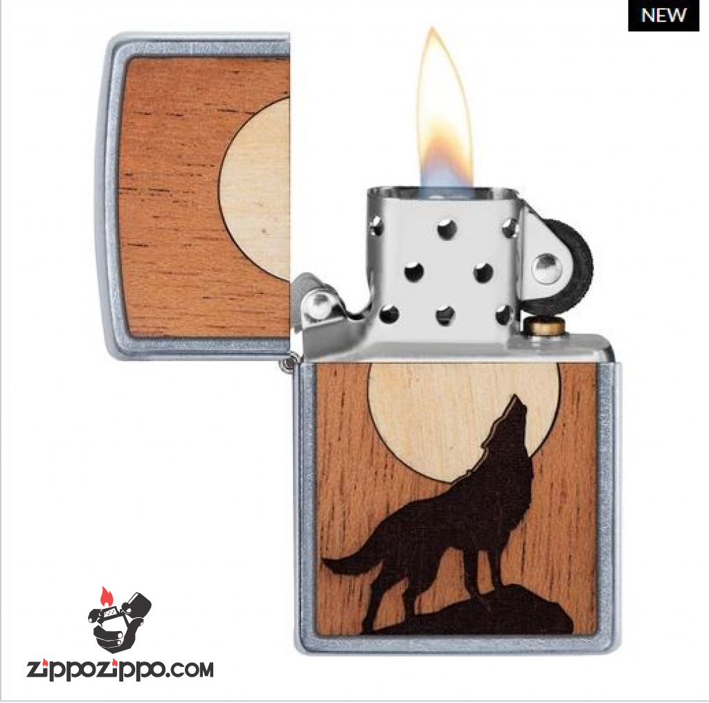 Zippo khắc Laser ảnh sói hú trên miếng gỗ