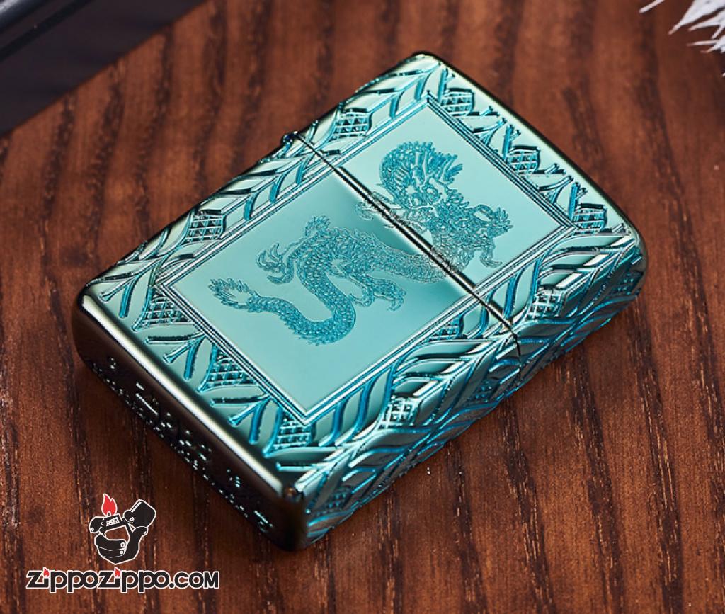 Zippo Armor màu xanh lá cây khắc sâu  MultiCut 360 hoa văn và Rồng chính giữa