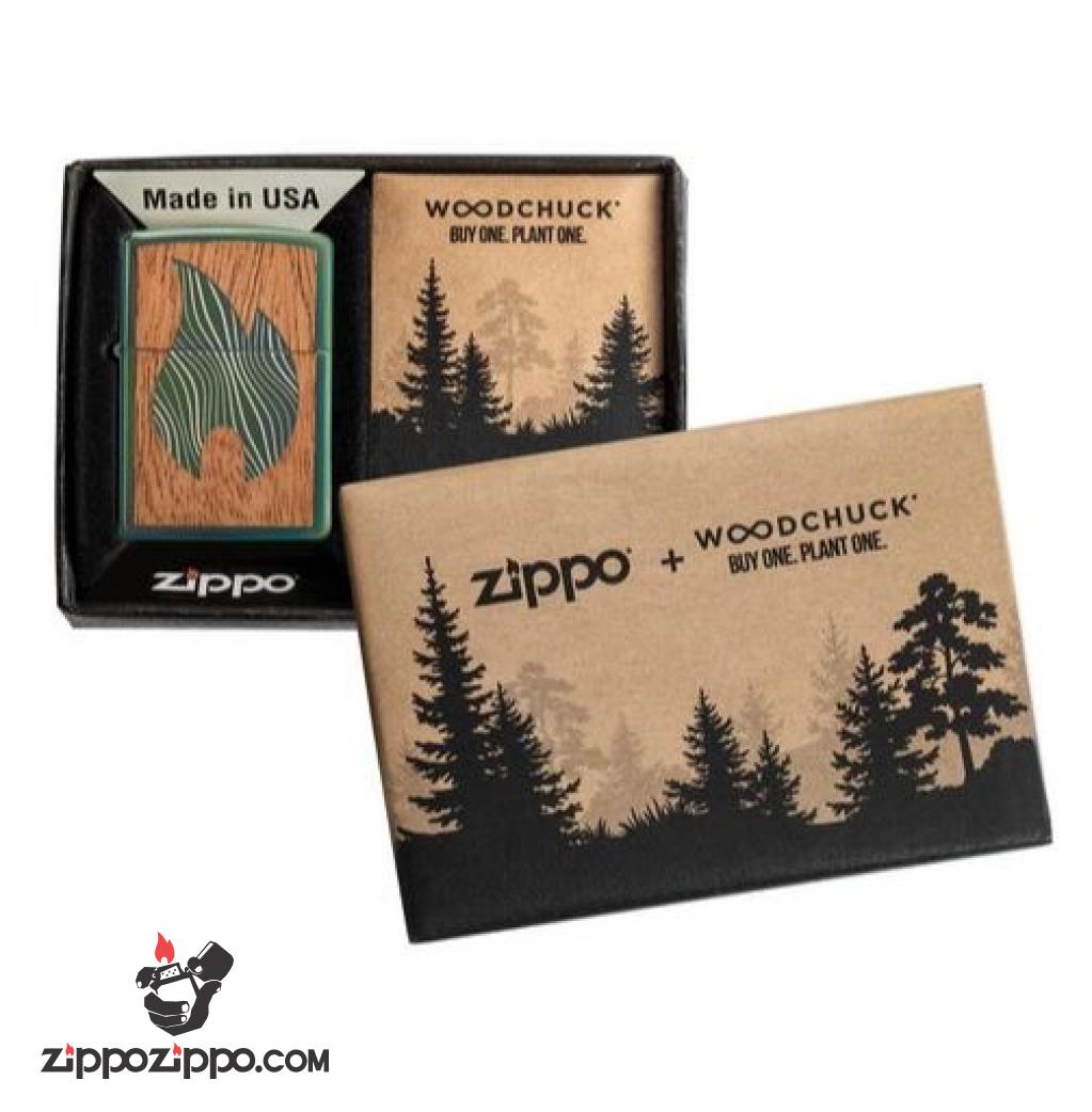 Zippo Chrome màu xanh biến màu tắc kè ốp gỗ ngọn lửa  biểu trưng của Zippo