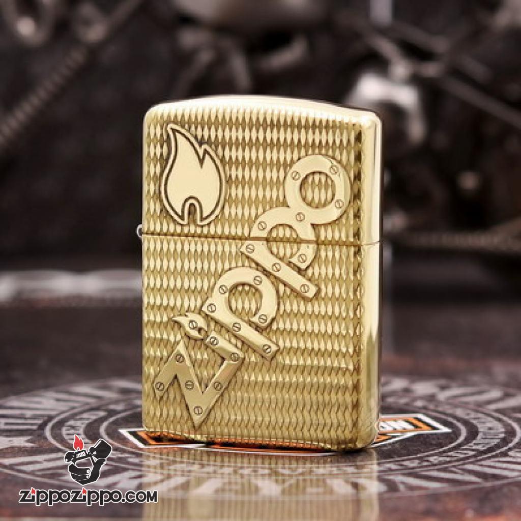 Bật lửa Zippo đồng khối khắc chữ Zippo nổi