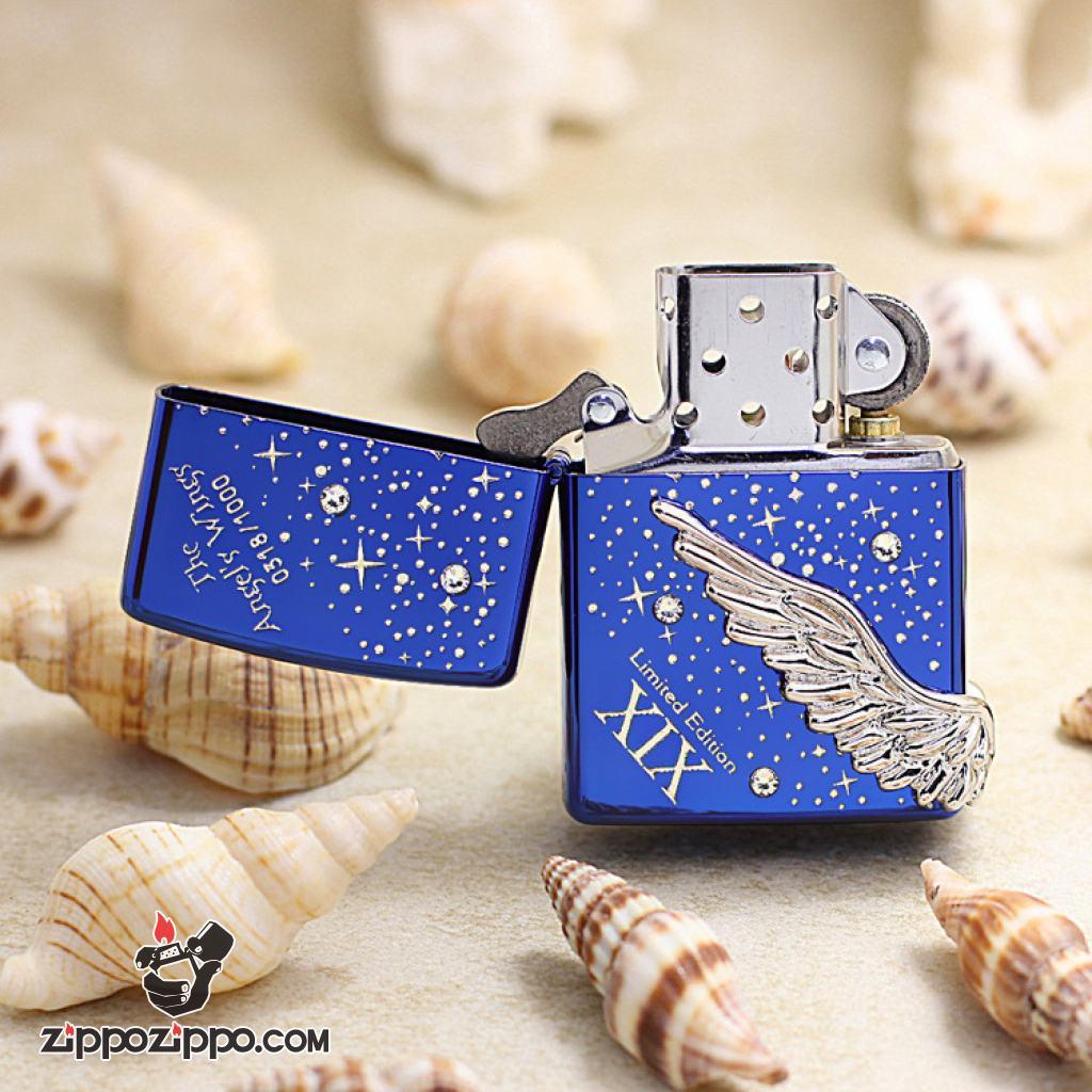 ZIPPO Angel's Wing's xuất hàn phiên bản màu xanh dòng Limited Edition XIX