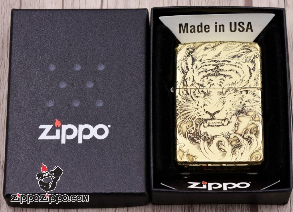 Bật lửa Zippo đồng khối khắc Hổ và móng vuốt Amor