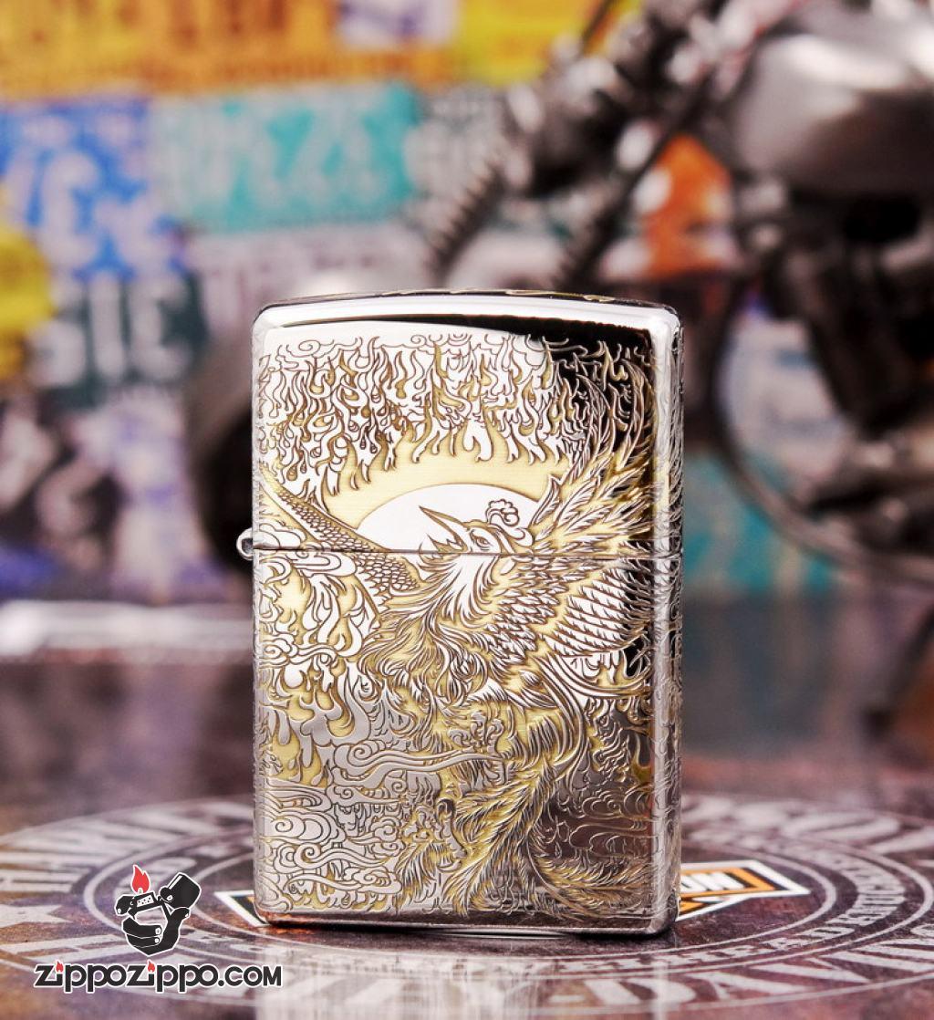Bật Lửa Zippo Chính Hãng Phiên Bản Armor Chạm Khắc Chim Phượng Hoàng chorme