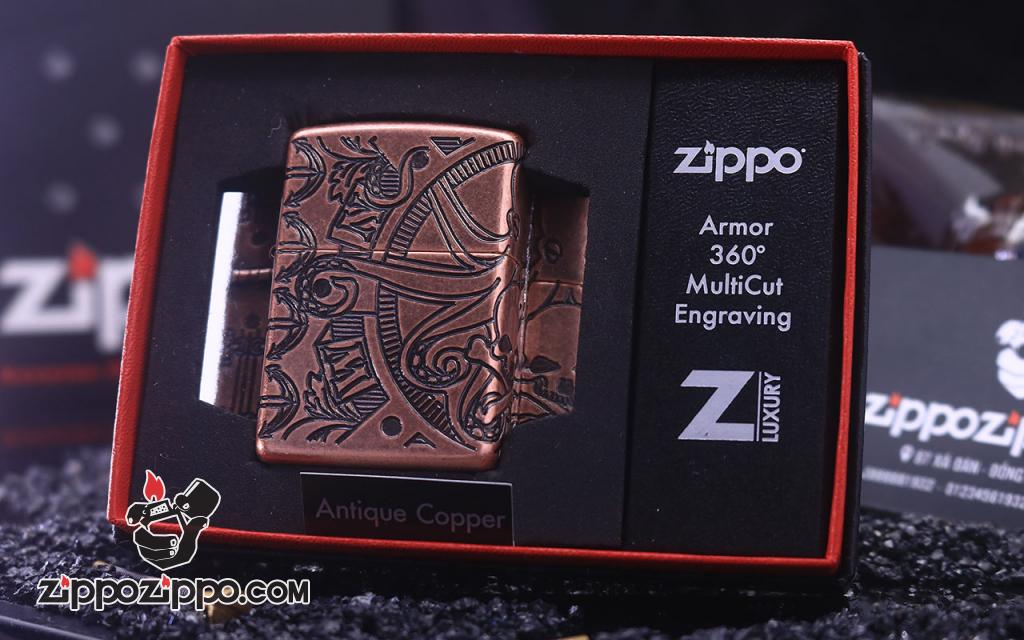 Zippo Armor khắc cao cấp 360  biểu tượng liên quan đến hàng hải  bao quanh cả 4 mặt