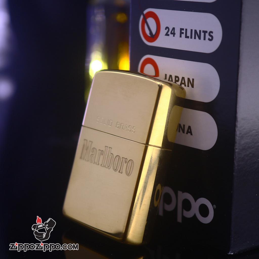 Zippo La Mã đồng bóng Solid Brass Marlboro sản xuất 1992