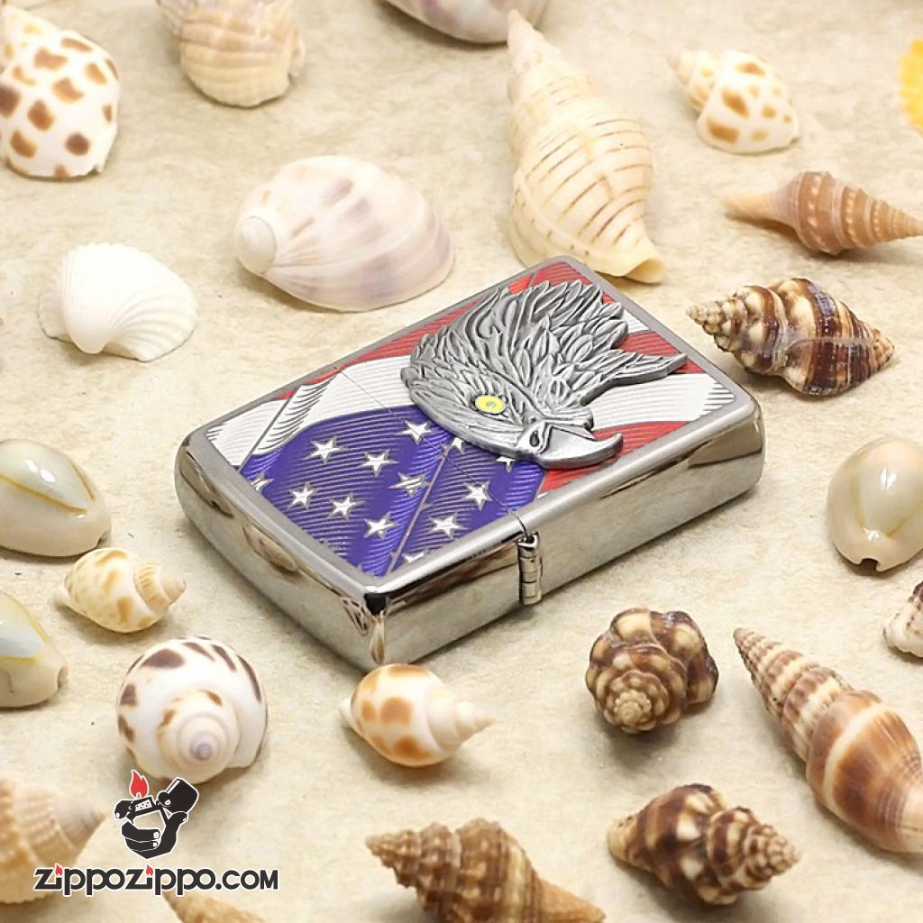 Bật Lửa Zippo Ốp Đại Bàn Và Lá Cờ Mỹ