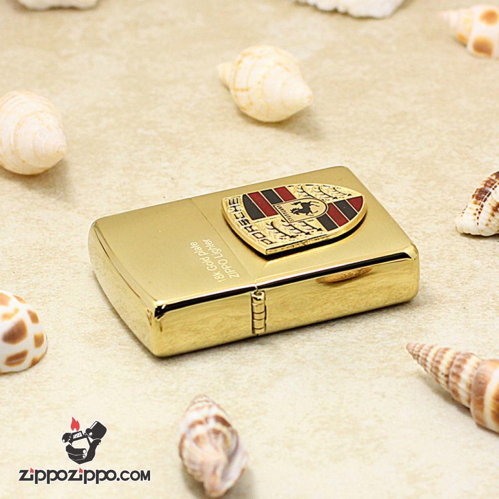 Bật Lửa Zippo Mạ Vàng 18K Gold Plate Ốp Porsche