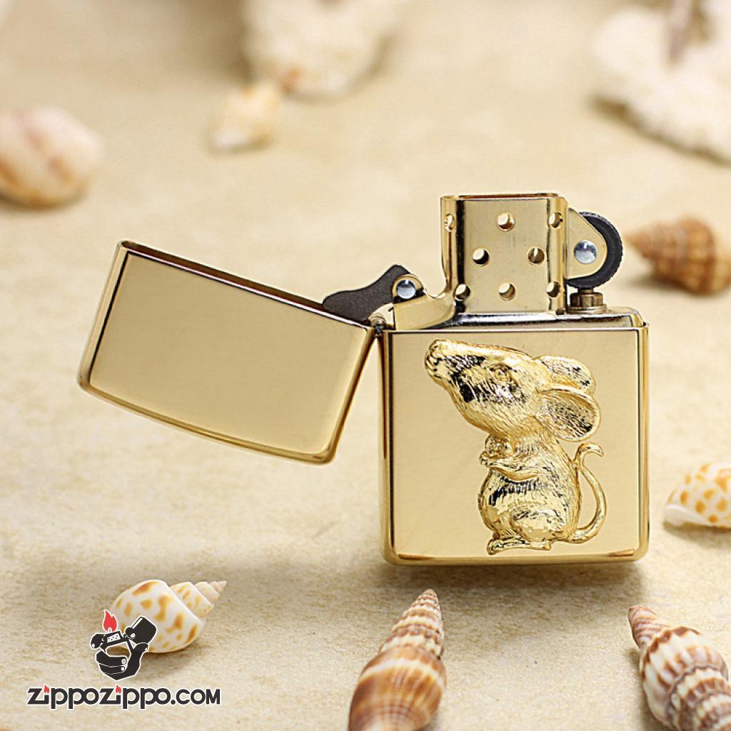 Bật Lửa Zippo Ốp Chuột Vàng May Mắn