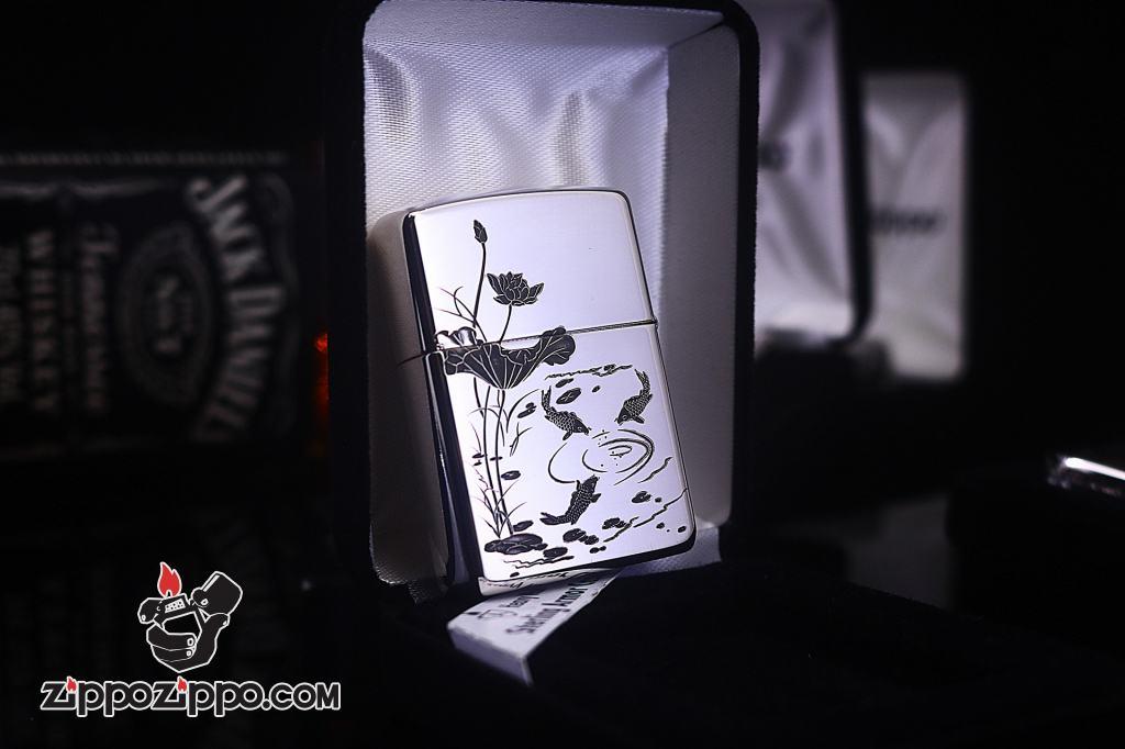 Bật lửa Zippo Bạc nguyên khối cao cấp khắc Hình Cá Chép Bản Amor