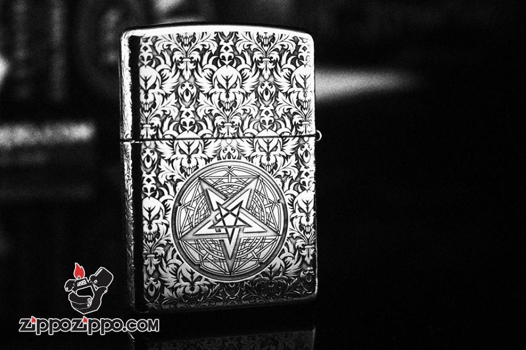 Bật lửa zippo bạc khối cao cấp khắc hình lễ quỷ