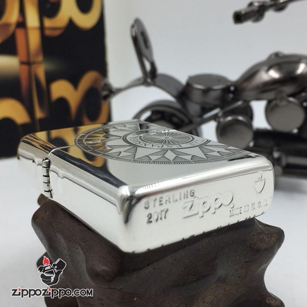 Bật Lửa Zippo Bạc Nguyên Khối Cao Cấp Khắc Hoa Văn La Bàn Và Bản Đồ Mỹ Vỏ Dầy Bản Armor