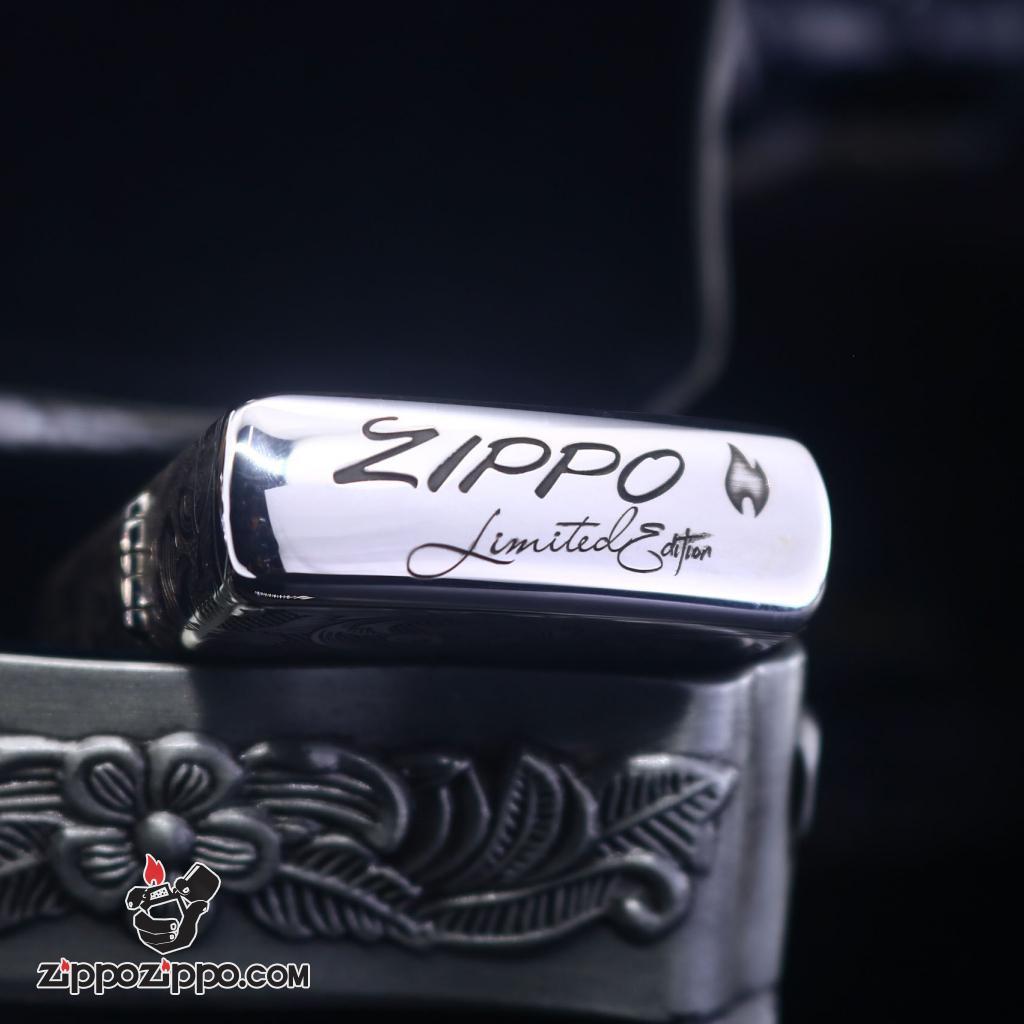 Bật Lửa Zippo Bạc Nguyên Khối Khắc Họa Tiết Rồng Nguyên Cuộn Phiên Bản Giới Hạn
