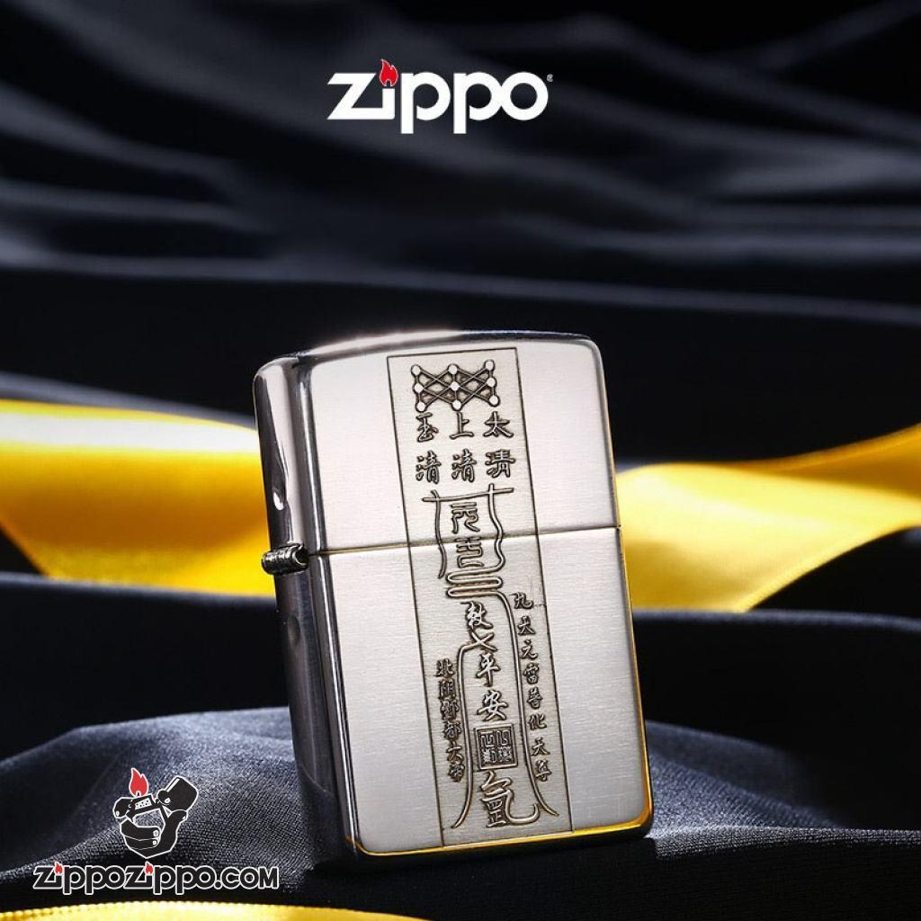 Bật lửa Zippo Bạc Nguyên Khối Cao Cấp Khắc Linh Phù Tài Lộc Bản Armor
