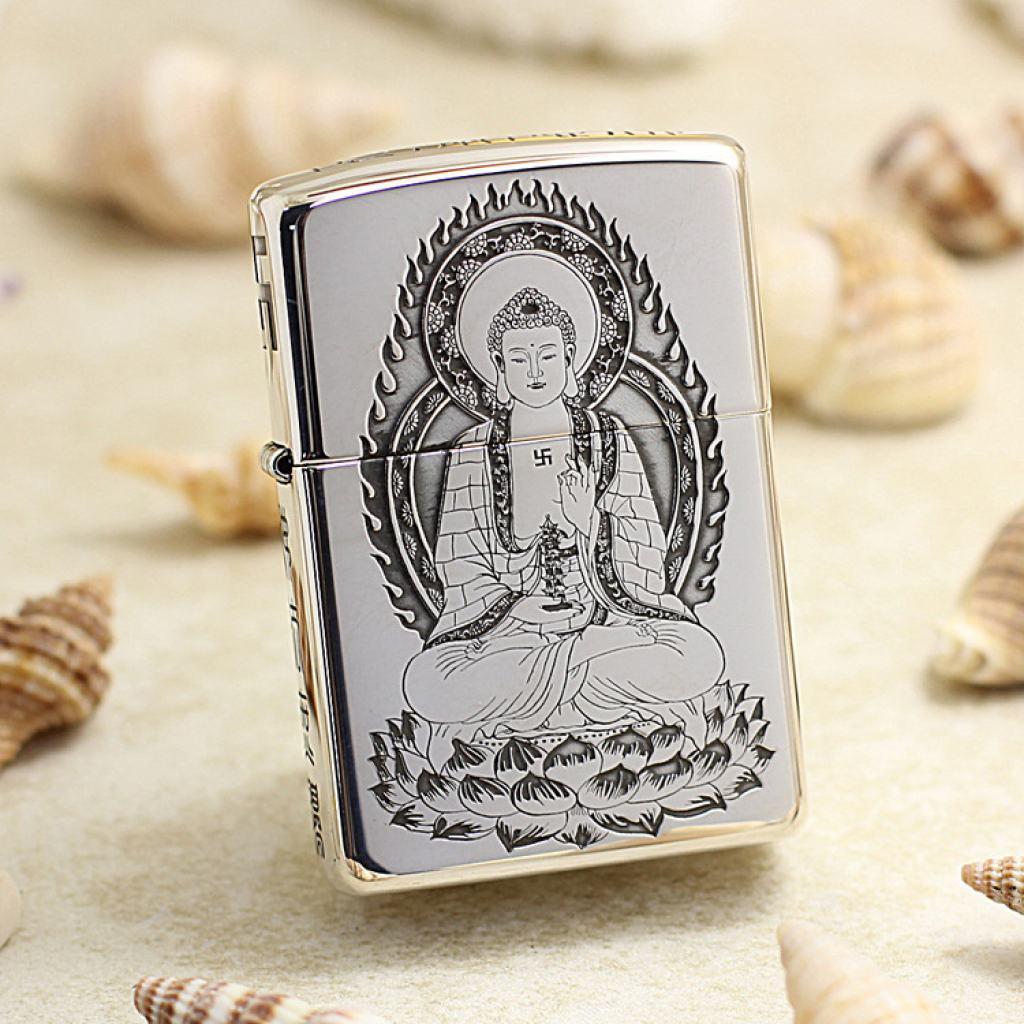Bật Lửa Zippo Bạc Nguyên Khối Khắc Đức Phật Thích Ca Mâu Ni Bản Vỏ Dầy Armor