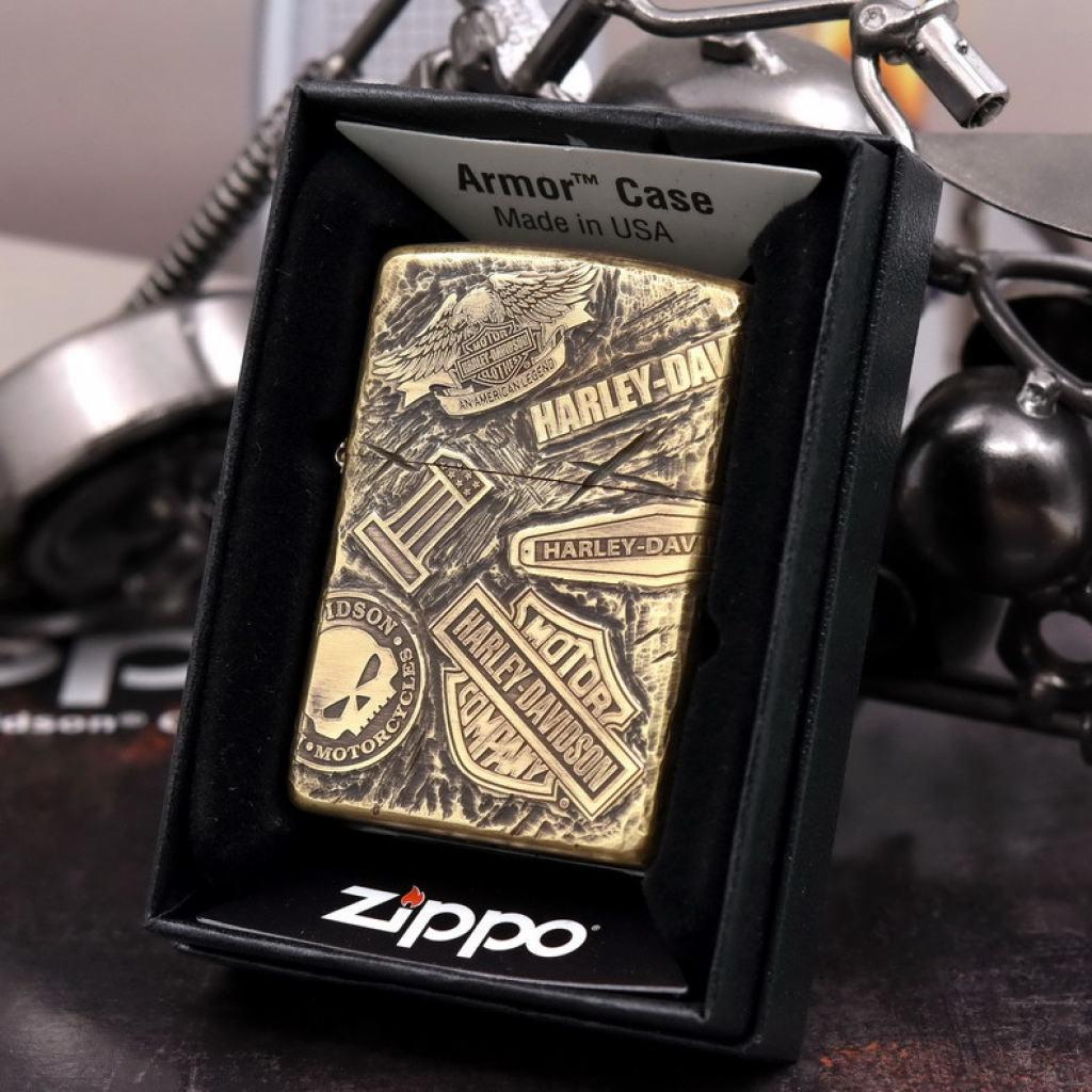 Bật Lửa Zippo Đồng Nguyên Khối Cao Cấp Khắc Harley Davidson