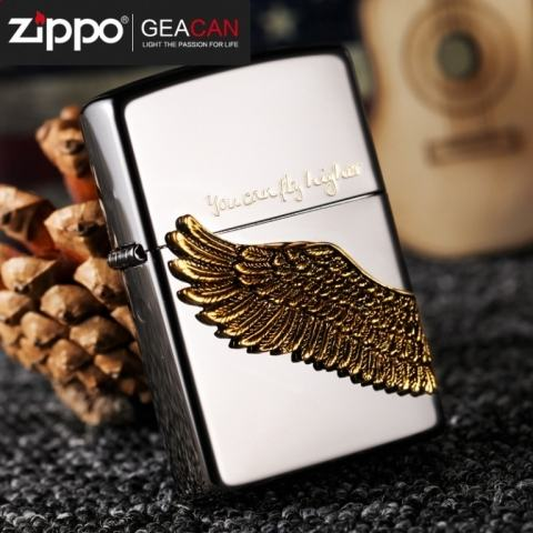 Baatn lửa Zippo mặt gương đen khắc hình cánh chim
