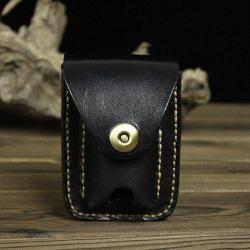 Bao da Handmade đựng zippo và thuốc lá Màu Đen - Mã SP: ZPC2654-C