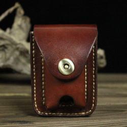 Bao da Handmade đựng zippo và thuốc lá Màu Nâu đỏ - Mã SP: ZPC2654-B