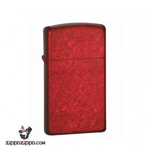 Bật Lửa Zippo 24319 Phiên Bản Slim Vân xước Màu Đỏ tươi