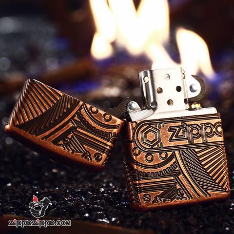 Bật Lửa Zippo 29523 – Bản Dầy Đồng Đỏ Zippo Gears Armor® Antique Copper