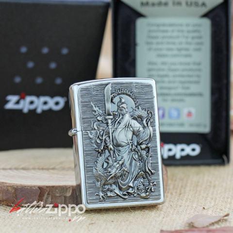 Bật lửa Zippo bạc khắc nổi hình quang công cưỡi rồng
