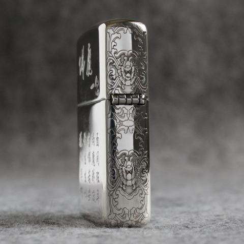 Bật Lửa Zippo Bạc Khối Cao Cấp Khắc Hình Đức Phật Và Ác Quỷ Bản Vỏ Mỏng