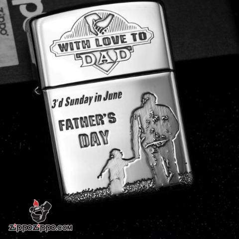 Bật Lửa Zippo Bạc Nguyên Khối Cao Cấp Khắc Father's Day Vỏ Dầy Bản Armor