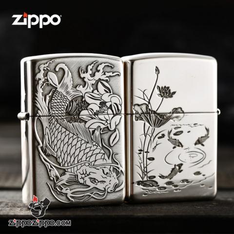 Bật lửa Zippo Bạc nguyên khối cao cấp khắc Hình Cá Chép Bản Tiêu Chuẩn