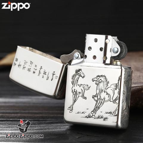 Bật lửa Zippo Bạc nguyên khối cao cấp khắc Hình Những Chú Ngựa Bản Amor.