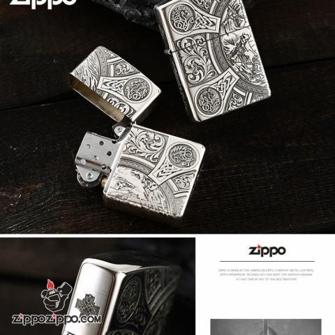 Bật lửa Zippo Bạc nguyên khối cao cấp khắc Hình Thần Chết Bản Amor.
