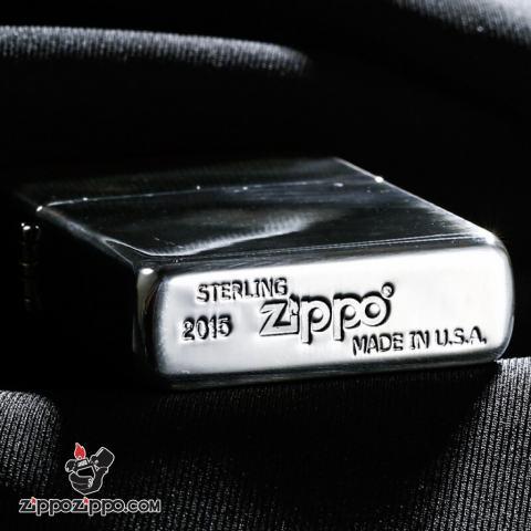 Bật Lửa Zippo Bạc Nguyên Khối Cao Cấp Khắc Hoa Văn Arabesque Và Logo Zippo Vỏ Dầy Bản Armor