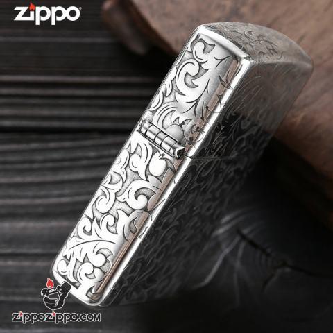Bật lửa Zippo Bạc nguyên khối cao cấp khắc Hoa Văn Hình Nổi Bản Tiêu Chuẩn.