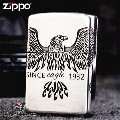 Bật Lửa Zippo Bạc Nguyên Khối Cao Cấp Khắc  Since Eagle Vỏ Dầy Bản Armor