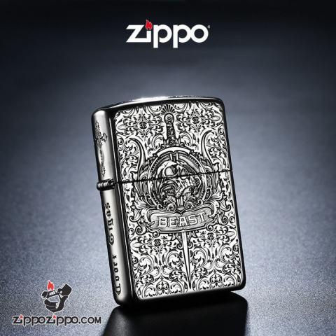 Bật Lửa Zippo Bạc Nguyên Khối Khắc  Codex Gigas Vỏ Dày Bản Armor