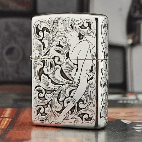 Bật lửa Zippo Bạc nguyên khối khắc hình cô gái