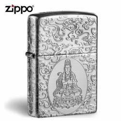 Bật lửa Zippo Bạc nguyên khối khắc Quan Thế Âm Bồ Tát - Mã SP: ZPC0895