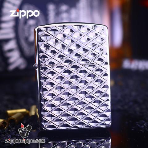 Bật Lửa Zippo Chạm Khắc Hình Kim Cương Màu Bạc