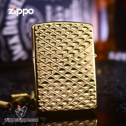 Bật Lửa Zippo Chạm Khắc Hình Kim Cương Màu Vàng