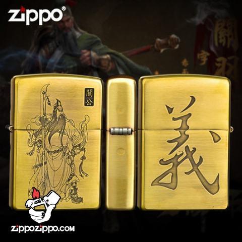 Bật lửa Zippo chất liệu đồng khắc hình Ông Quan Công