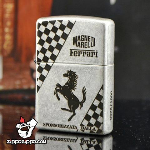 Bật lửa Zippo chĩnh hãng bạc cổ khắc Ferrari