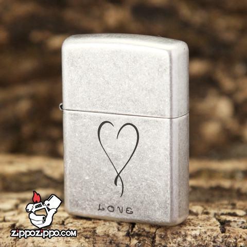 Bật lửa Zippo chính hãng Bạc cổ Love