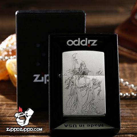 Bật lửa Zippo chính hãng bạc khắc Quan Công