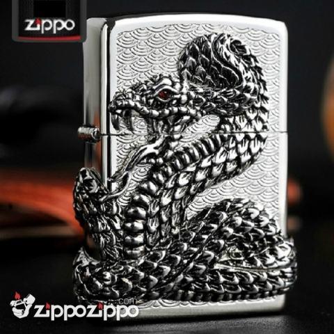 Bật lửa Zippo chính hãng bac thanh xà quấn quanh